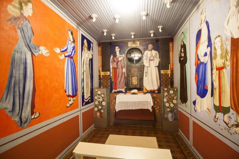Chapelle de la neuvième, dans la ville de Brodowski avec des travaux de Candido Portinari Mars 2017 photo stock