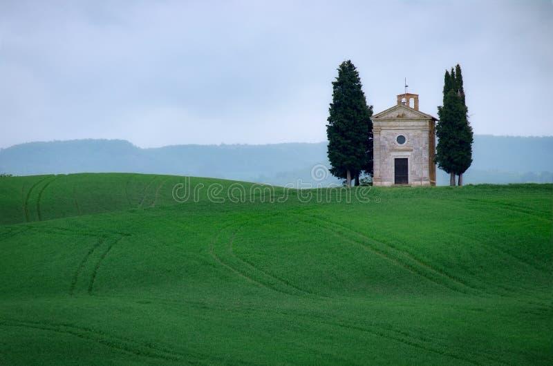 """Chapelle de Vitaleta, près de Pienza, Val d """"Orcia, vallée d'Orcia, province de Sienne, Toscane, Italie image libre de droits"""