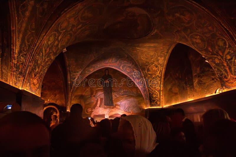Chapelle du clouement à l'église de la tombe sainte image stock