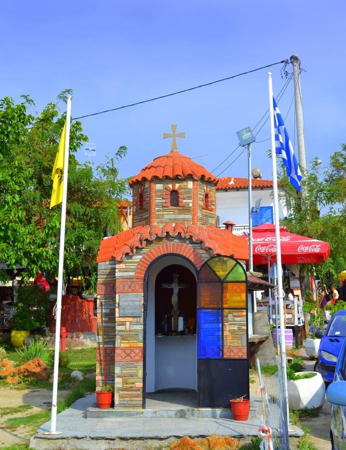 Chapelle Grèce de bord de la route d'ongle du pouce photo libre de droits
