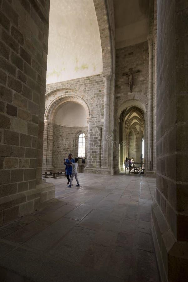 Chapelle Notre-Dame-sous-Terre, Mont Saint Michel Abbey, Frankrike royaltyfria bilder