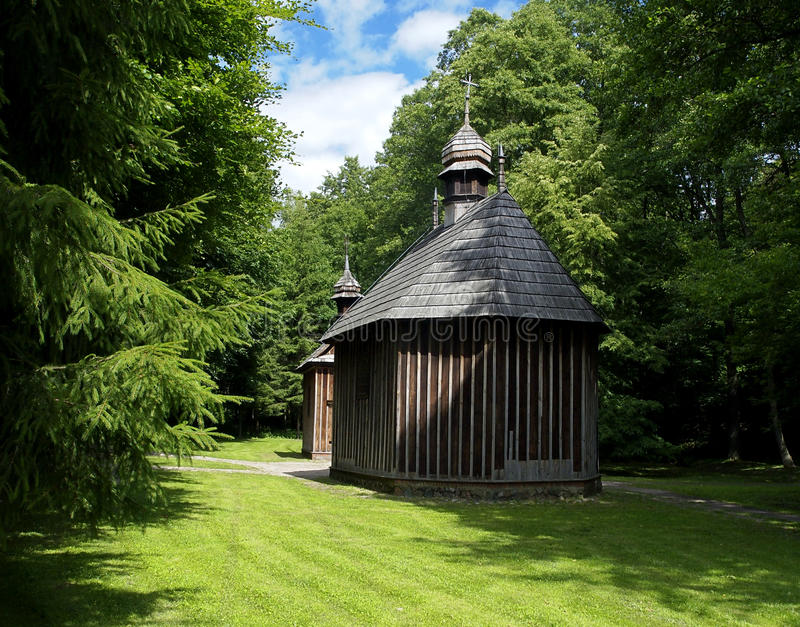 Chapels of St. Roch and St. Anthony .. The wooden chapel of St. Roch and St. Anthony (1676) in the forest Lagiewniki in Lodz stock images