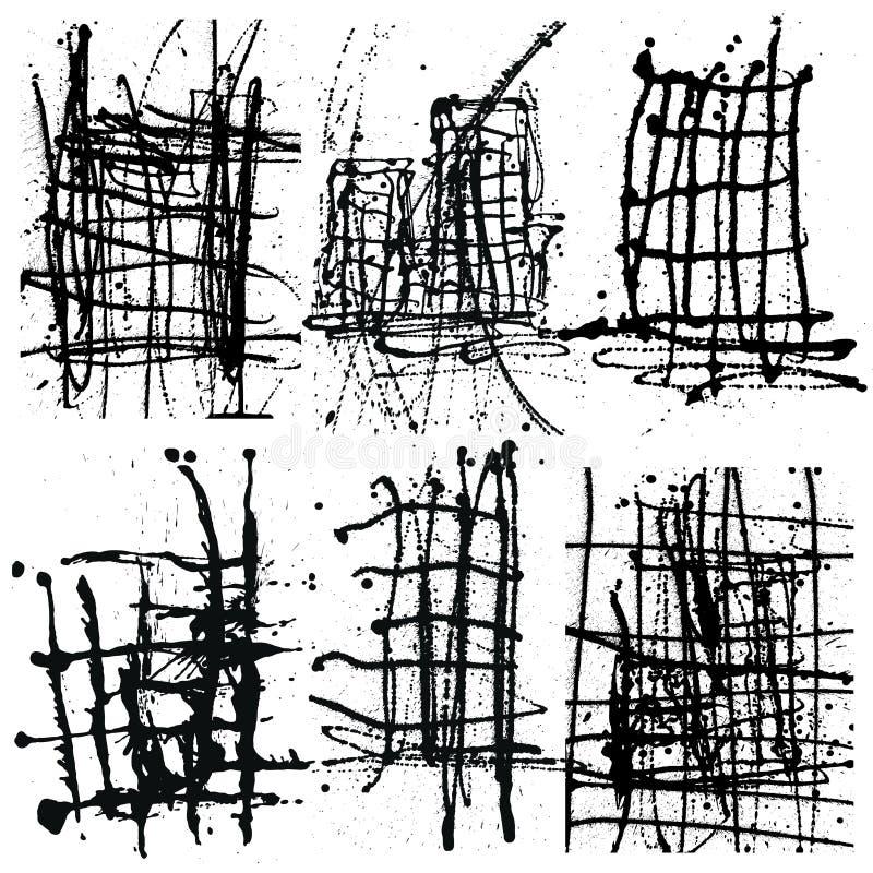 Chapinhar o grupo de tinta preta da coleção do fundo Pulverizador tirado mão B ilustração royalty free