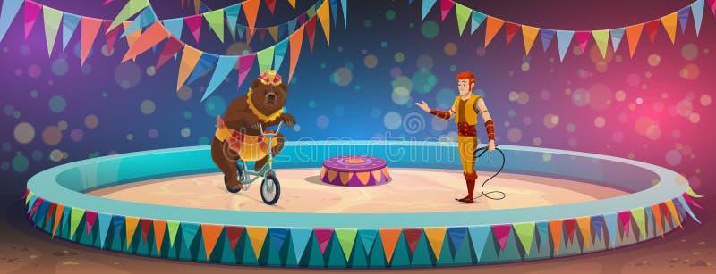 Chapiteau cyrk, niedźwiedź, treser, scena i arena, ilustracji