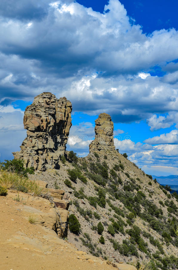 Chapiteles - monumento nacional de la roca de la chimenea - Colorado imágenes de archivo libres de regalías