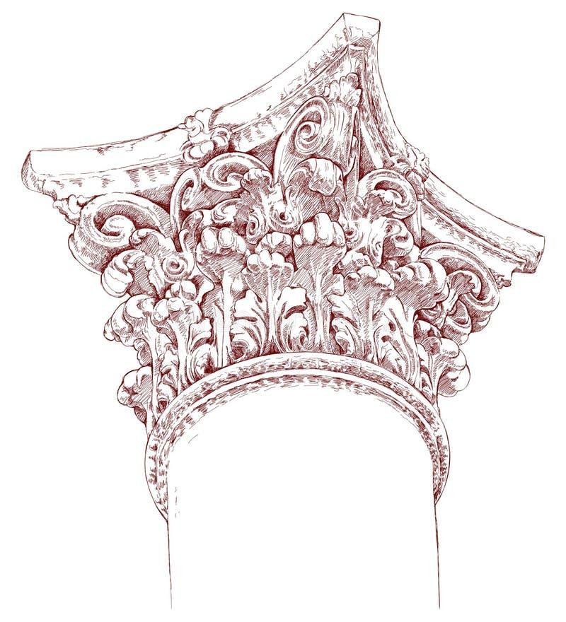 chapiter remisu ręki nakreślenie ilustracja wektor