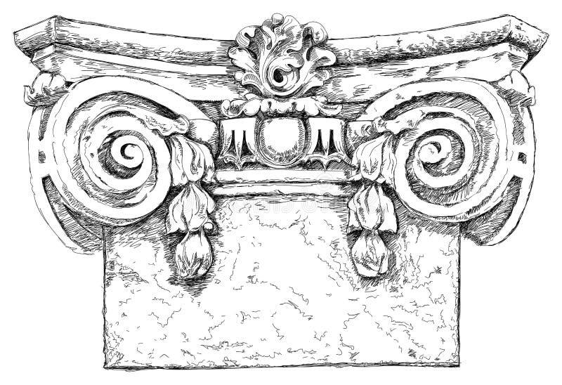 chapiterdrawhanden skissar vektor illustrationer