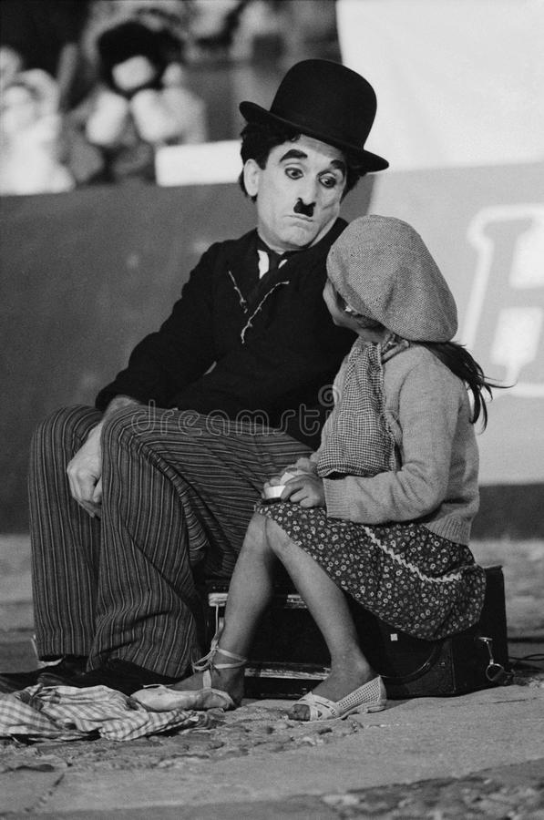Chaplin. Mime perform famous comedian Charlie Chaplin. Picture taken in a performance in the festival Cervantino, Guanajuato, Mexico stock image