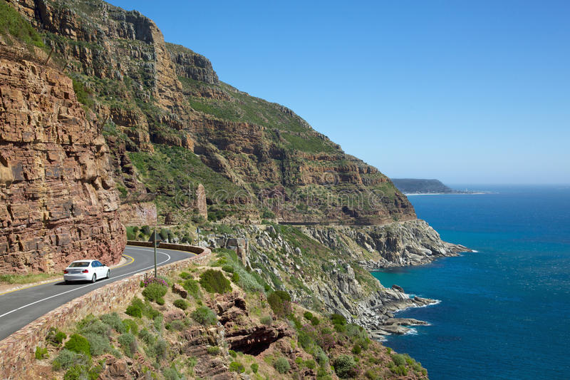 Chapman's Peak Drive. With Kommetjie in the background, South Africa royalty free stock image
