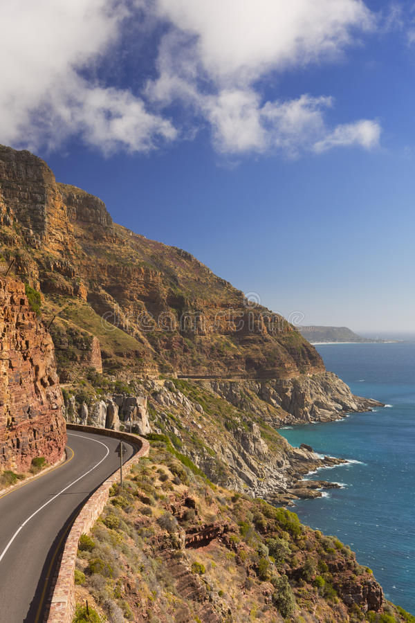 Chapman`s Peak Drive near Cape Town in South Africa. The Chapman`s Peak Drive on the Cape Peninsula near Cape Town in South Africa on a bright and sunny royalty free stock images