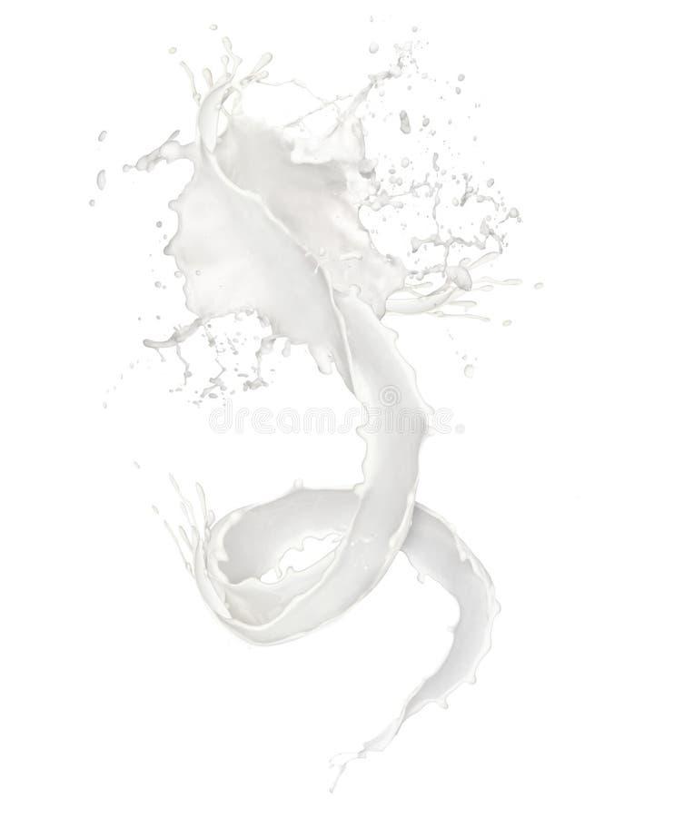 Chapoteo abstracto de la leche en el fondo blanco ilustración del vector