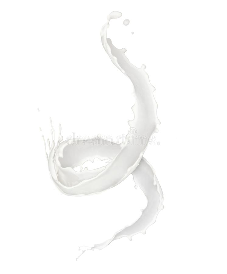 Chapoteo abstracto de la leche en el fondo blanco stock de ilustración