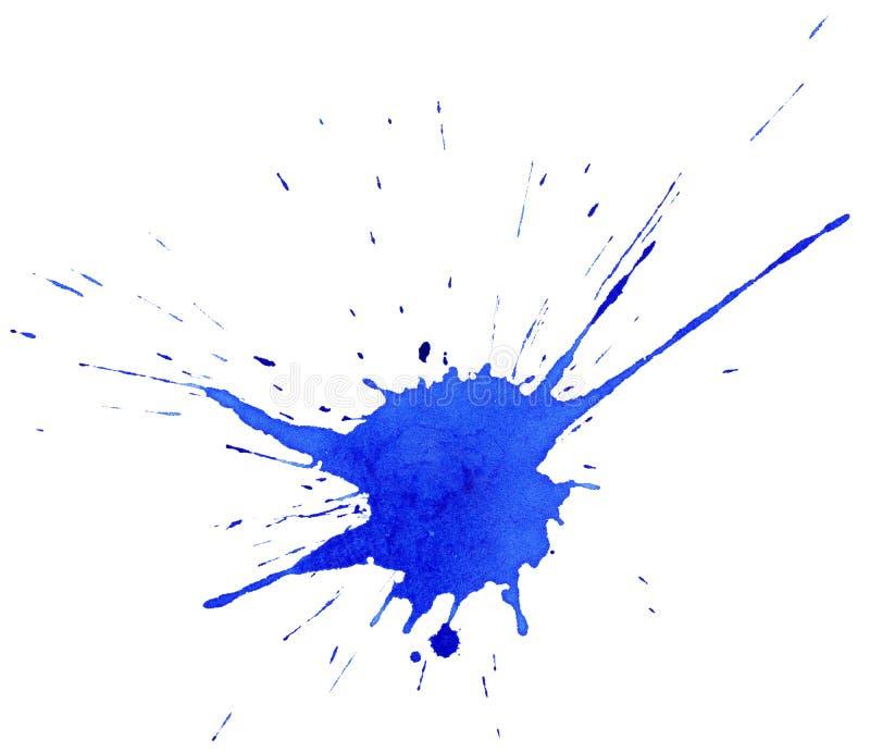 Chapoteo abstracto de la tinta azul ilustración del vector