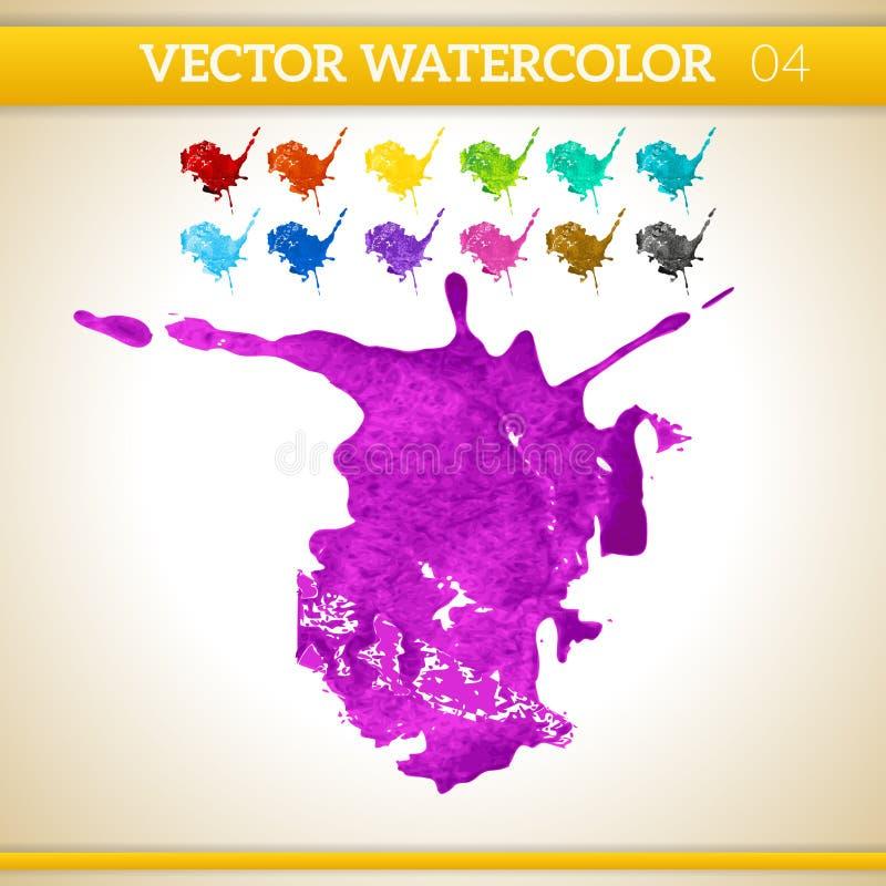 Chapoteo artístico de la acuarela púrpura del vector ilustración del vector