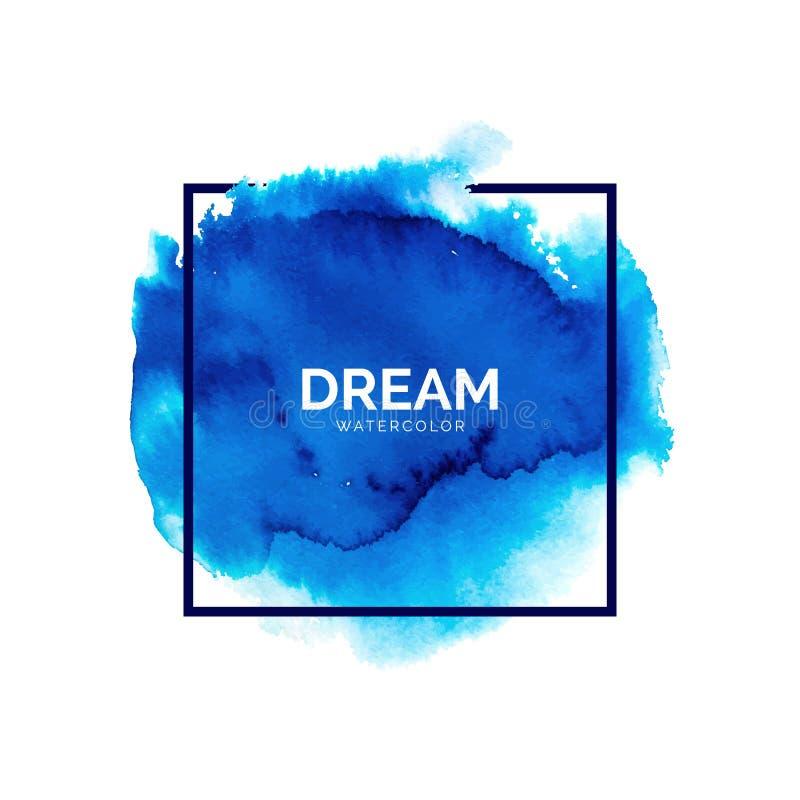 Chapoteo azul abstracto de la acuarela ilustración del vector