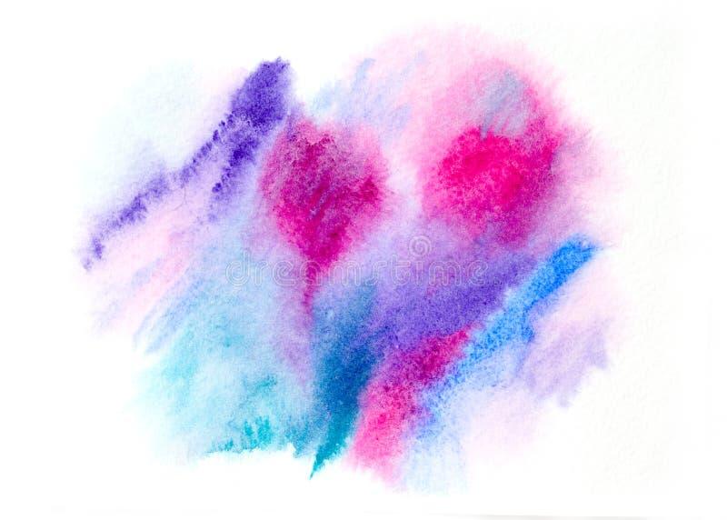 Chapoteo azul pintado a mano abstracto de la acuarela en fondo del Libro Blanco foto de archivo
