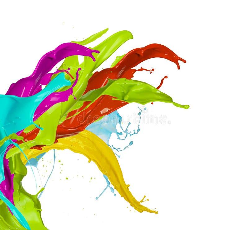 Chapoteo coloreado de la pintura, aislado en el fondo blanco stock de ilustración
