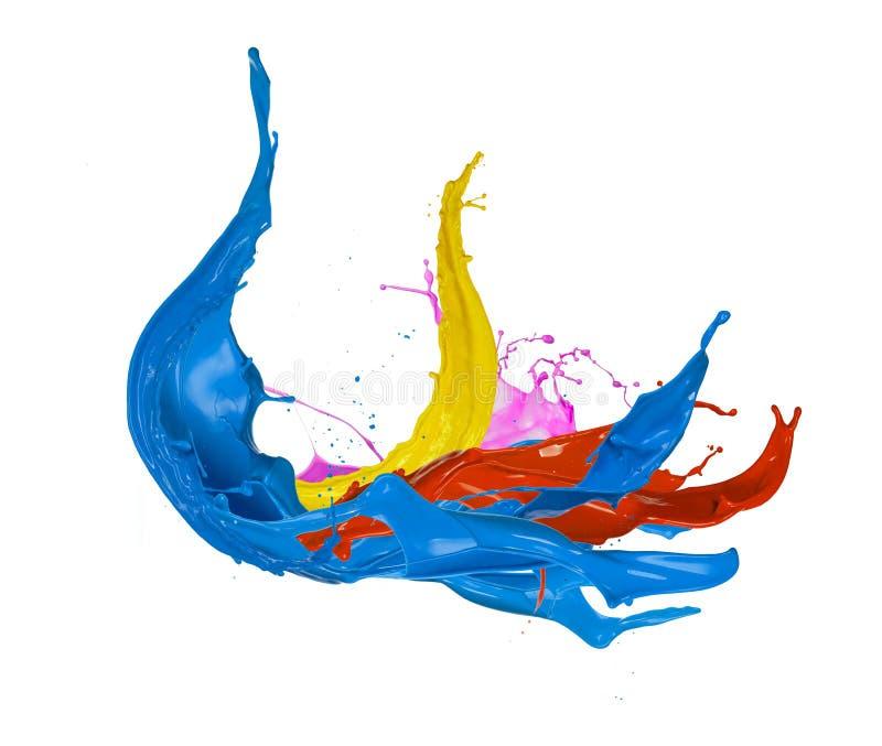 Chapoteo coloreado de la pintura, aislado en el fondo blanco libre illustration