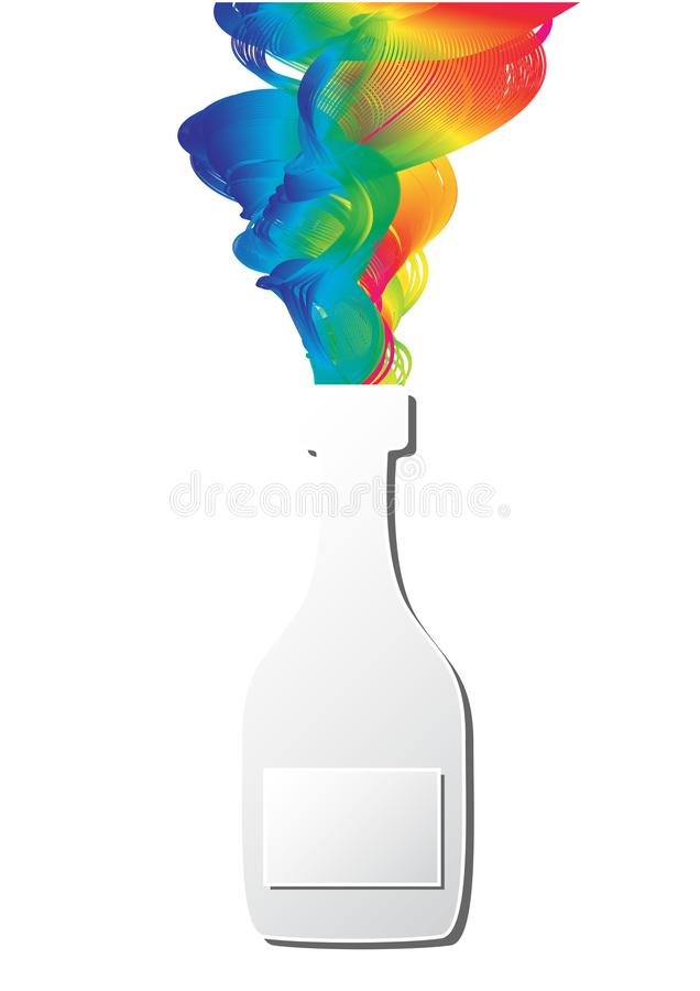 Chapoteo colorido de la cinta del espectro del arco iris del arte del corte del papel de la botella del champán ilustración del vector