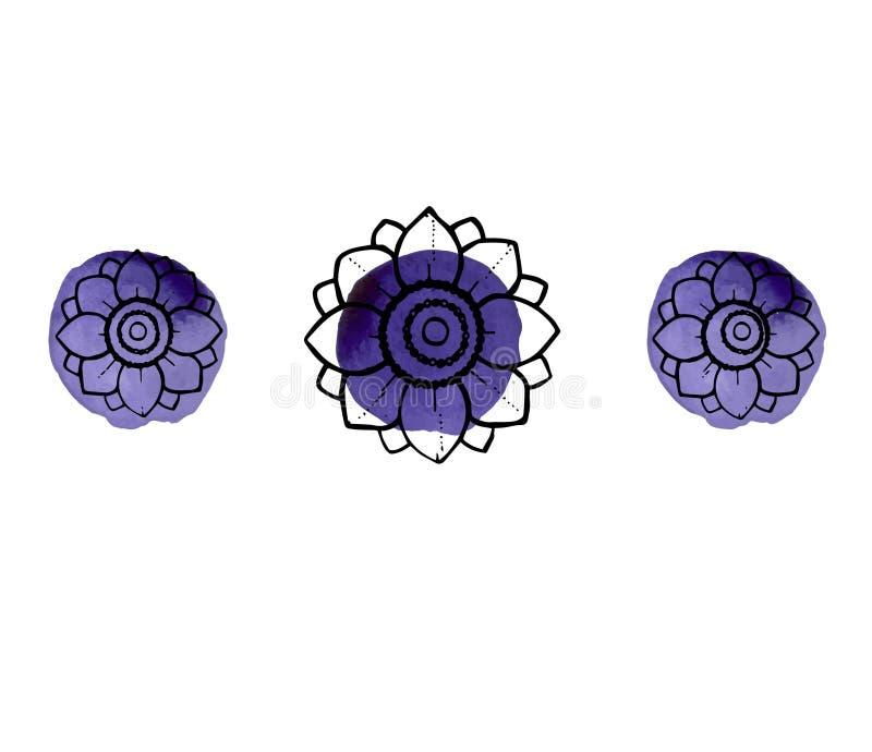 Chapoteo de la acuarela con las flores fotos de archivo libres de regalías