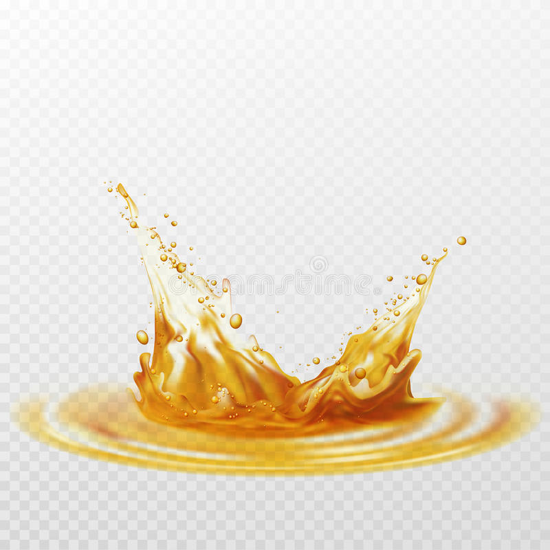 Chapoteo de la espuma de la cerveza del color blanco y amarillo en un fondo transparente Ilustración del vector ilustración del vector