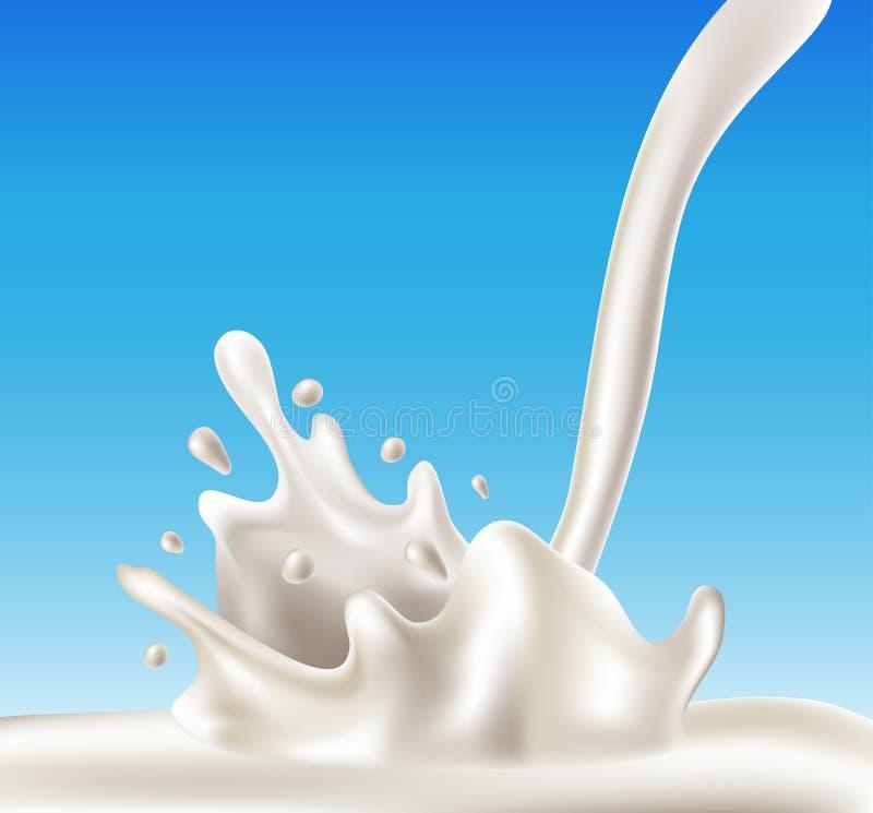Chapoteo de la leche stock de ilustración