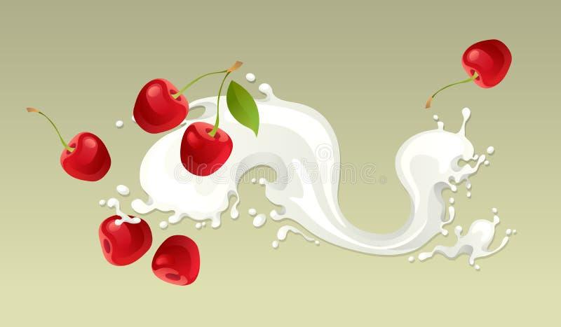 Chapoteo de la leche con la cereza stock de ilustración