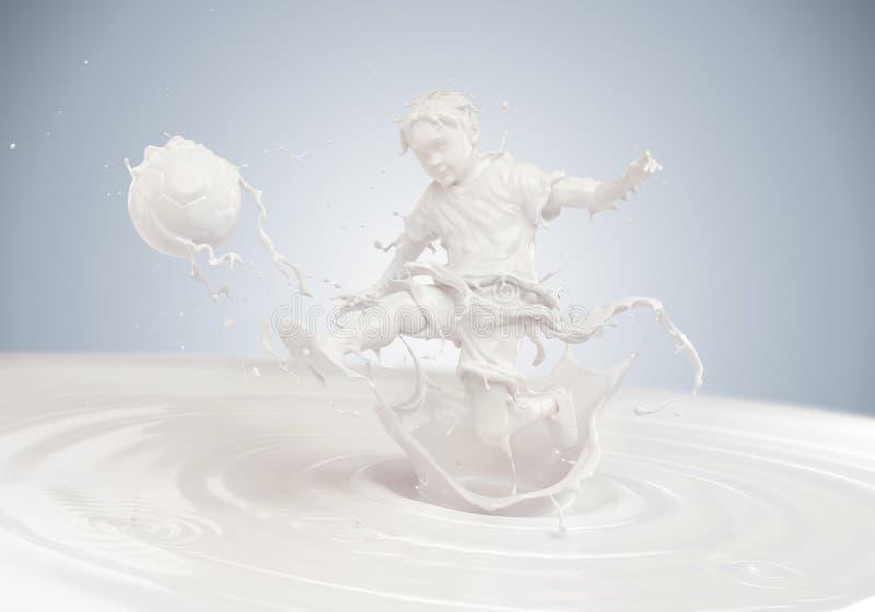Chapoteo de la leche en la forma de cuerpo del ` s del muchacho que juega a fútbol imagenes de archivo