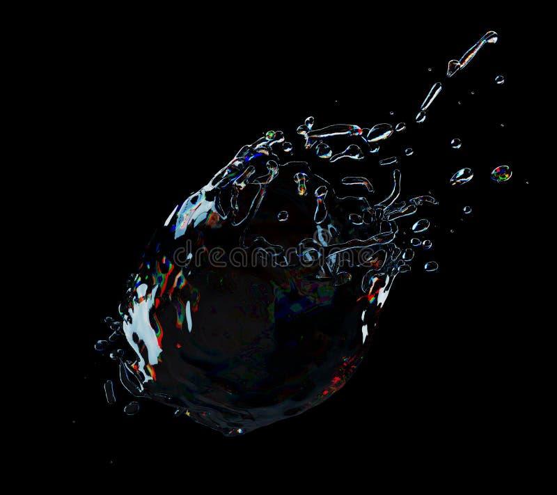 Chapoteo del agua aislado en fondo negro ilustración del vector