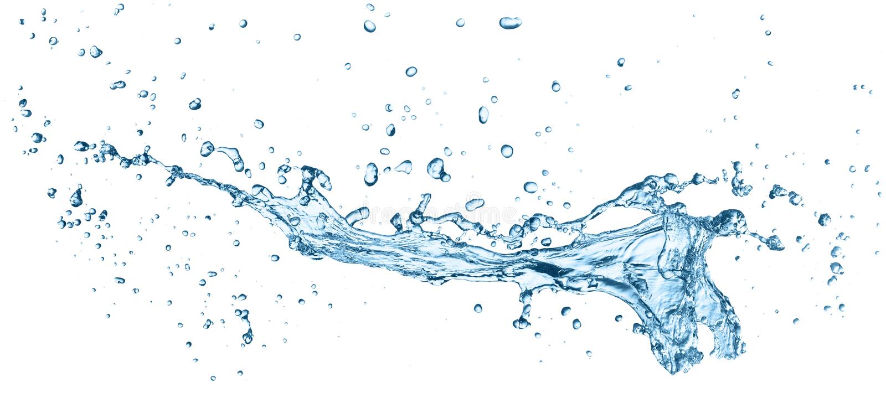 Chapoteo del agua azul aislado en el fondo blanco fotografía de archivo