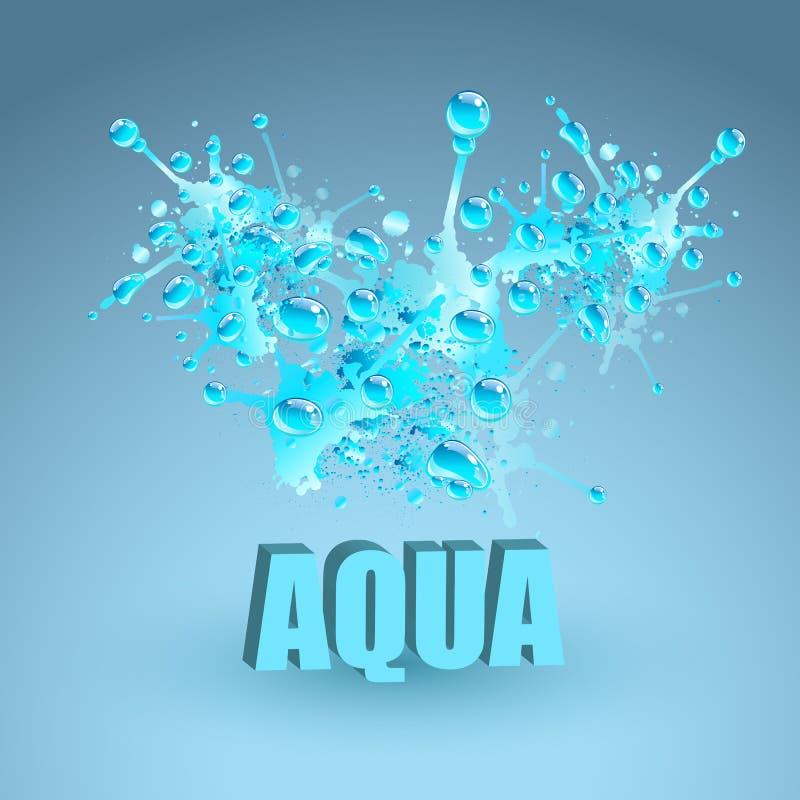 Chapoteo del agua azul, ejemplo del vector stock de ilustración