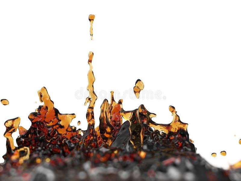 Chapoteo del café con el fondo blanco stock de ilustración