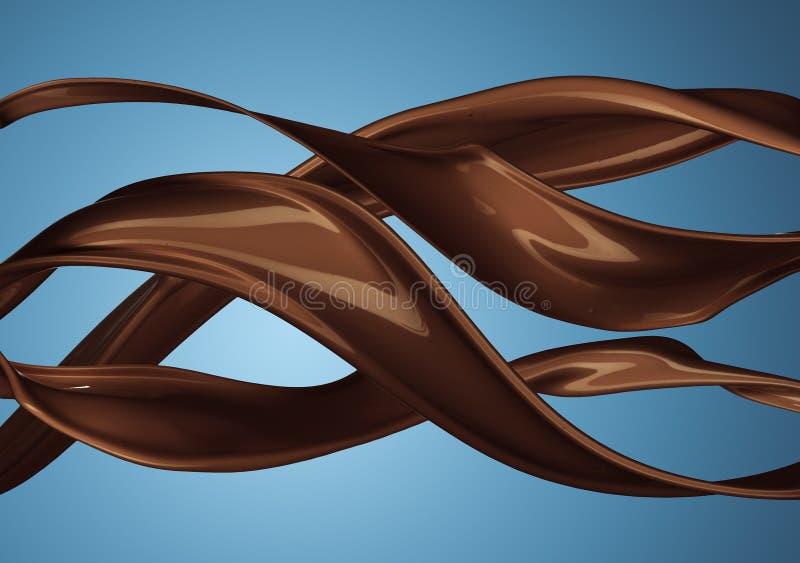 Chapoteo del café o del chocolate caliente pardusco aislado imagen de archivo