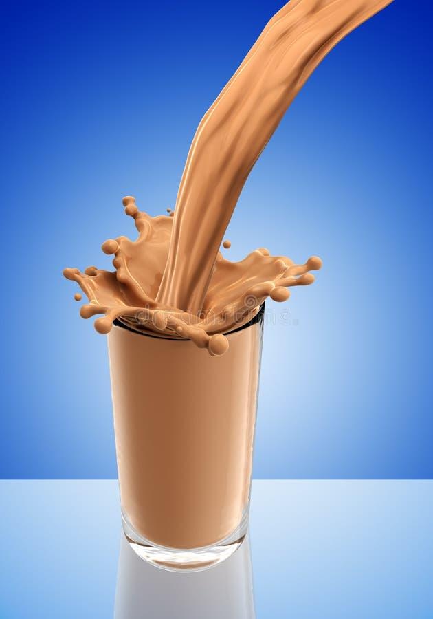 Chapoteo del chocolate caliente del vidrio ilustración del vector