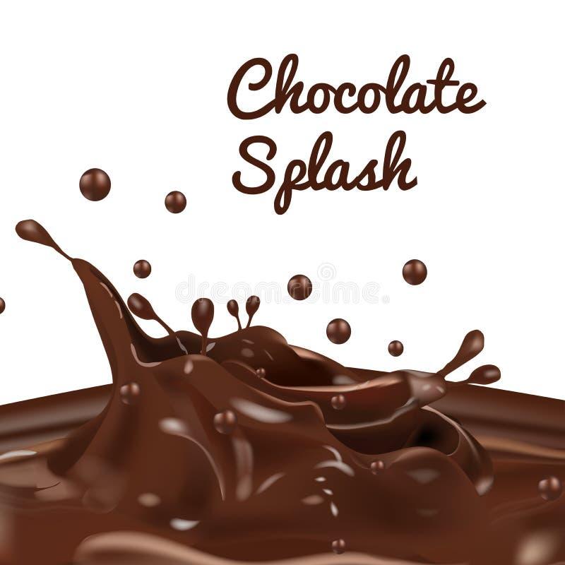 Chapoteo del chocolate con descenso y la sensación real stock de ilustración