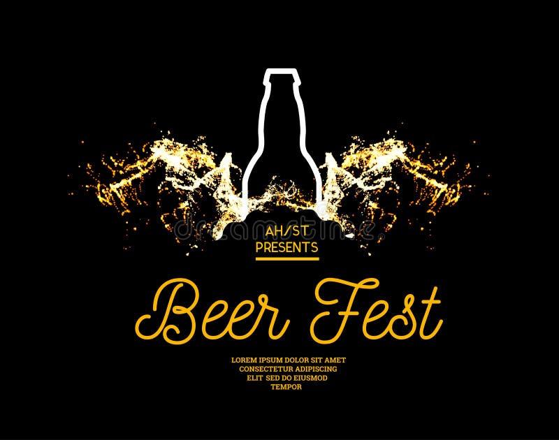 Chapoteo del fest de la cerveza de la cerveza con las burbujas en un fondo negro Vector el ejemplo con una silueta de una botella libre illustration