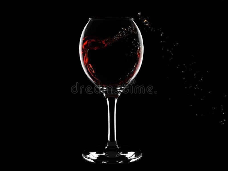 Chapoteo del vino del rad en vidrio en negro ilustración del vector