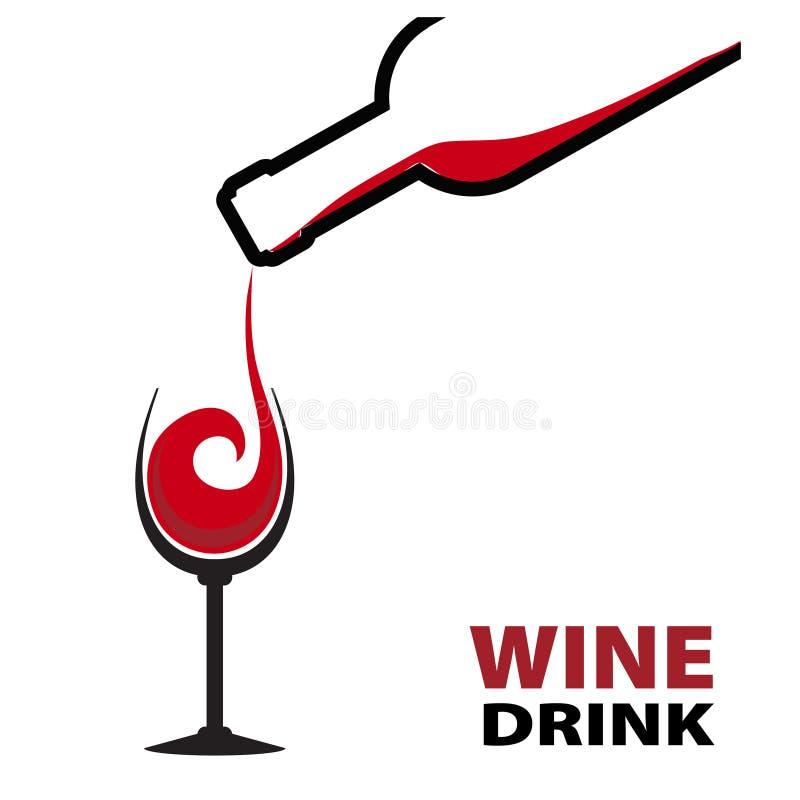 Chapoteo del vino rojo con la botella y el vidrio Ilustración común del vector libre illustration