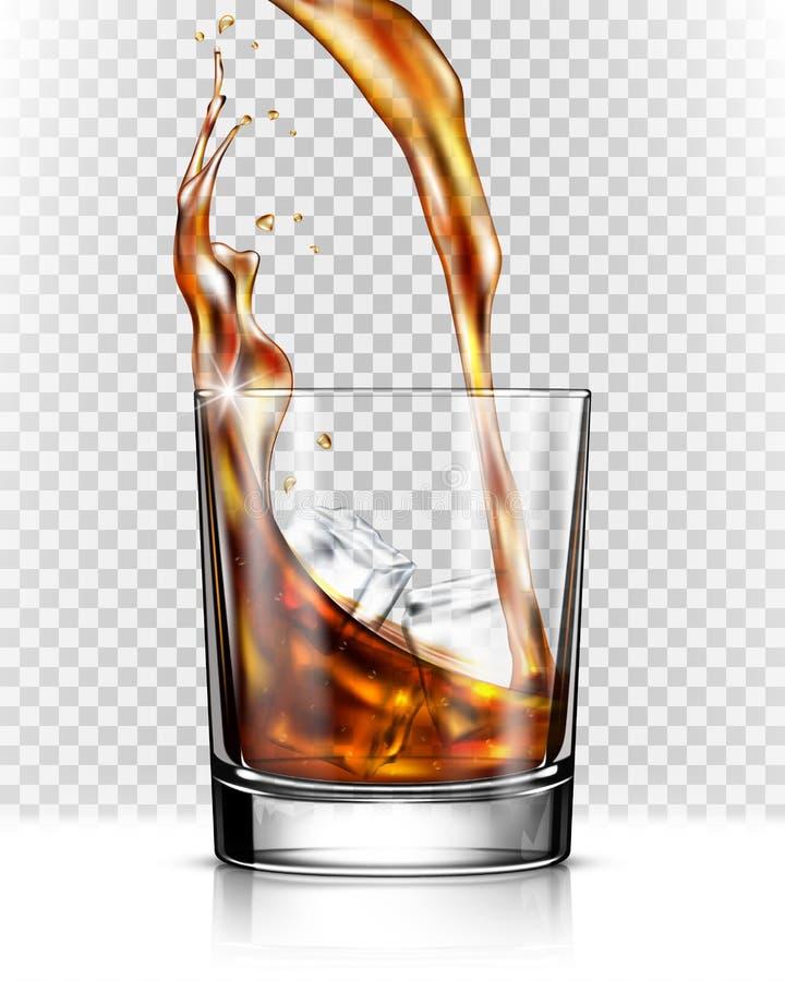 Chapoteo del whisky fuera del vidrio ilustración del vector