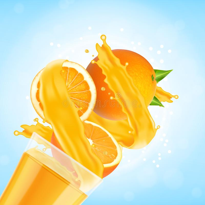 Chapoteo del zumo de naranja con la fruta de cristal y anaranjada ilustración del vector
