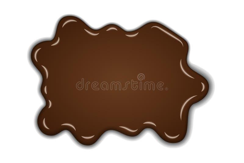 Chapoteo dulce del chocolate fondo blanco aislado mancha blanca /negra l?quida del chocolate Punto abstracto del postre de la for ilustración del vector