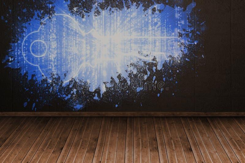 Chapoteo en la pared que revela llave digital ilustración del vector