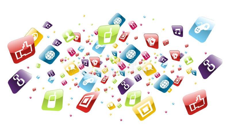 Chapoteo global de los iconos de los apps del teléfono móvil stock de ilustración