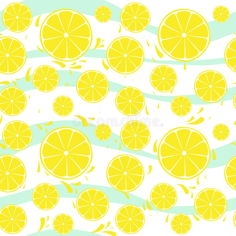 Chapoteo inconsútil del modelo de las rebanadas de los limones en blanco azul libre illustration