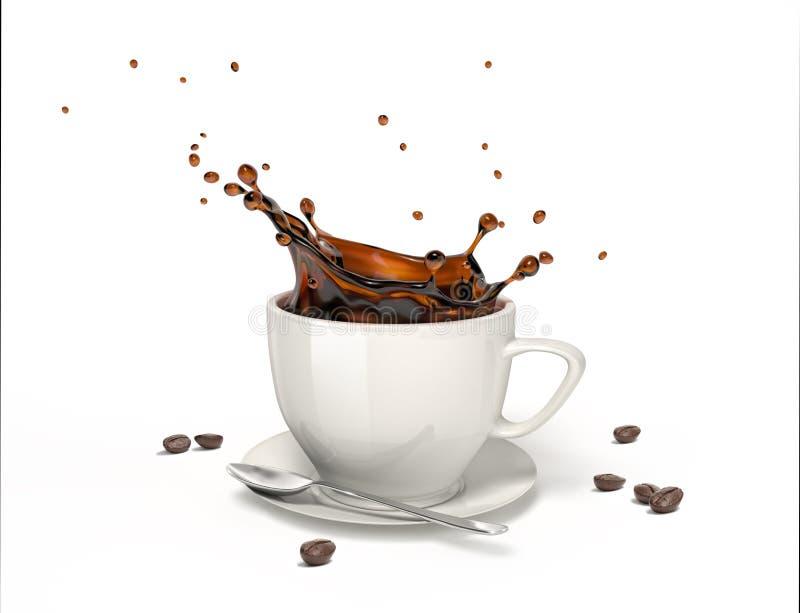 Chapoteo líquido del café en una taza blanca en el platillo y la cuchara fotos de archivo libres de regalías
