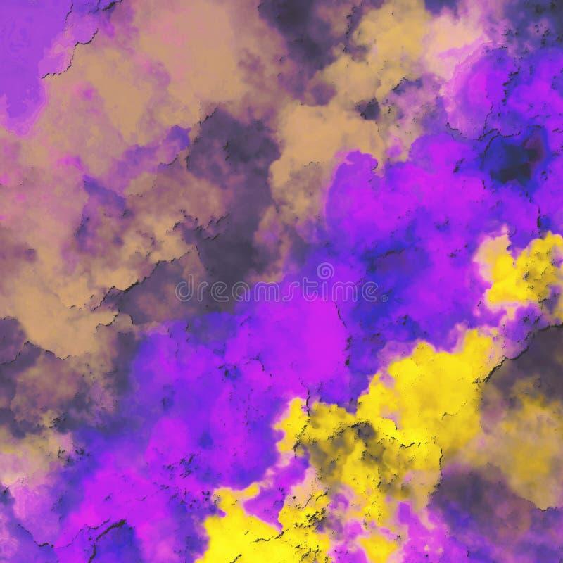 Chapoteo multicolor de la pintura en el papel Nubes coloridas dispersadas en fondo Opinión del horizonte Pared texturizada piedra ilustración del vector