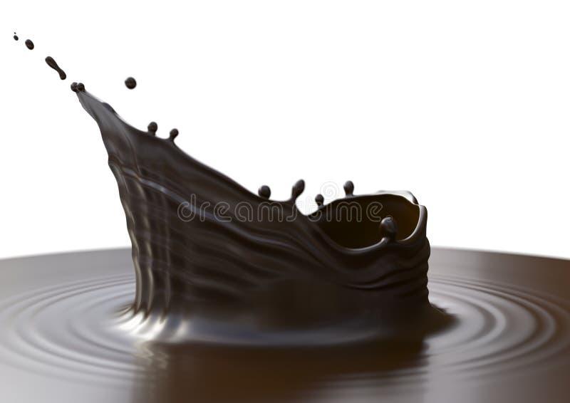 Chapoteo negro del chocolate imagen de archivo libre de regalías
