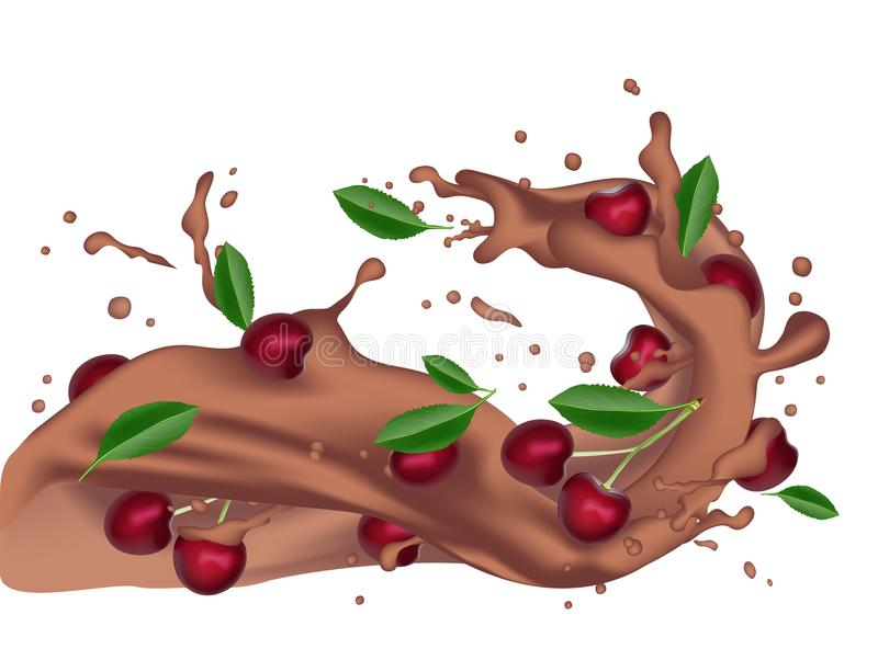 chapoteo oscuro torcido realista del chocolate caliente 3d con descensos y c ilustración del vector