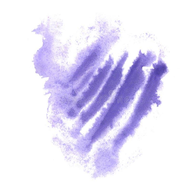 Chapoteo púrpura de la acuarela el descenso abstracto de la acuarela aisló la mancha blanca /negra para su arte del diseño stock de ilustración