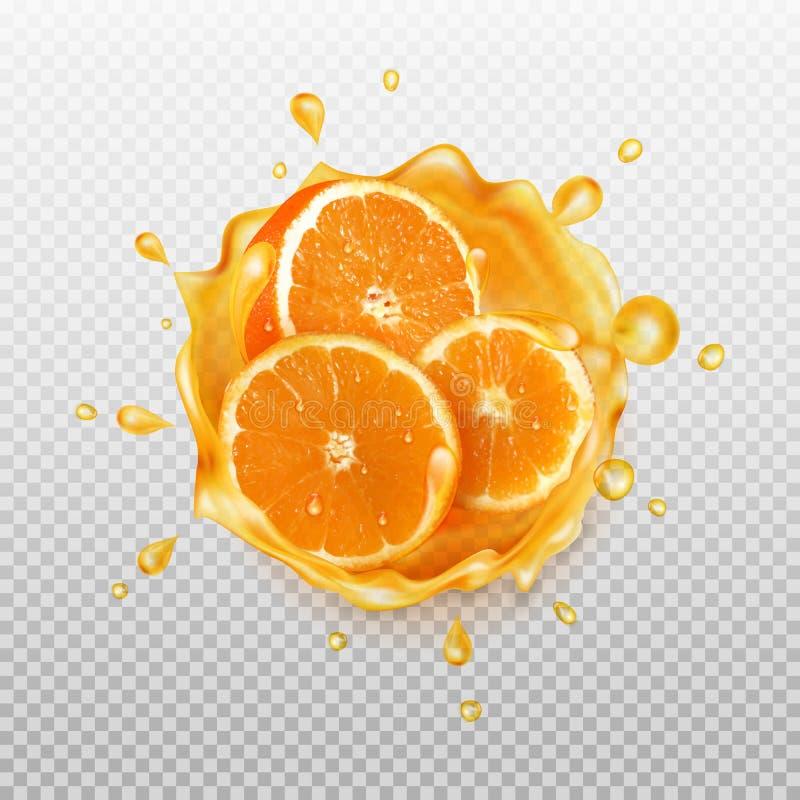 Chapoteo realista del jugo con la naranja ilustración del vector